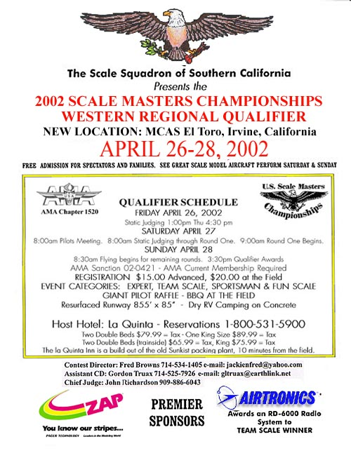 Western Regional Scale Masters Qualifier - April 26, 27, & 28, 2002
